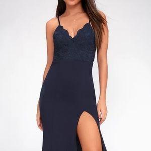 NWT Lulu's Navy Blue Lace Maxi Dress